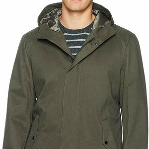 Kenneth Cole Coat Hooded Jacket Olive Green Sz M